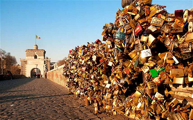 Milvio Bridge and love padlocks