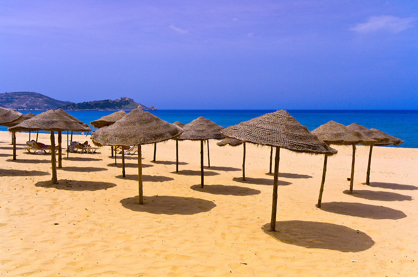 Beach umbrellas, Tabarka beach, Tunisia - Africa's best offbeat beaches